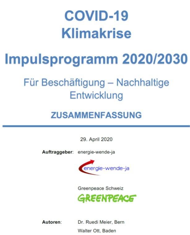 COVID-19 Klimakrise – Impulsprogramm 2020/2030 – Zusammenfassung