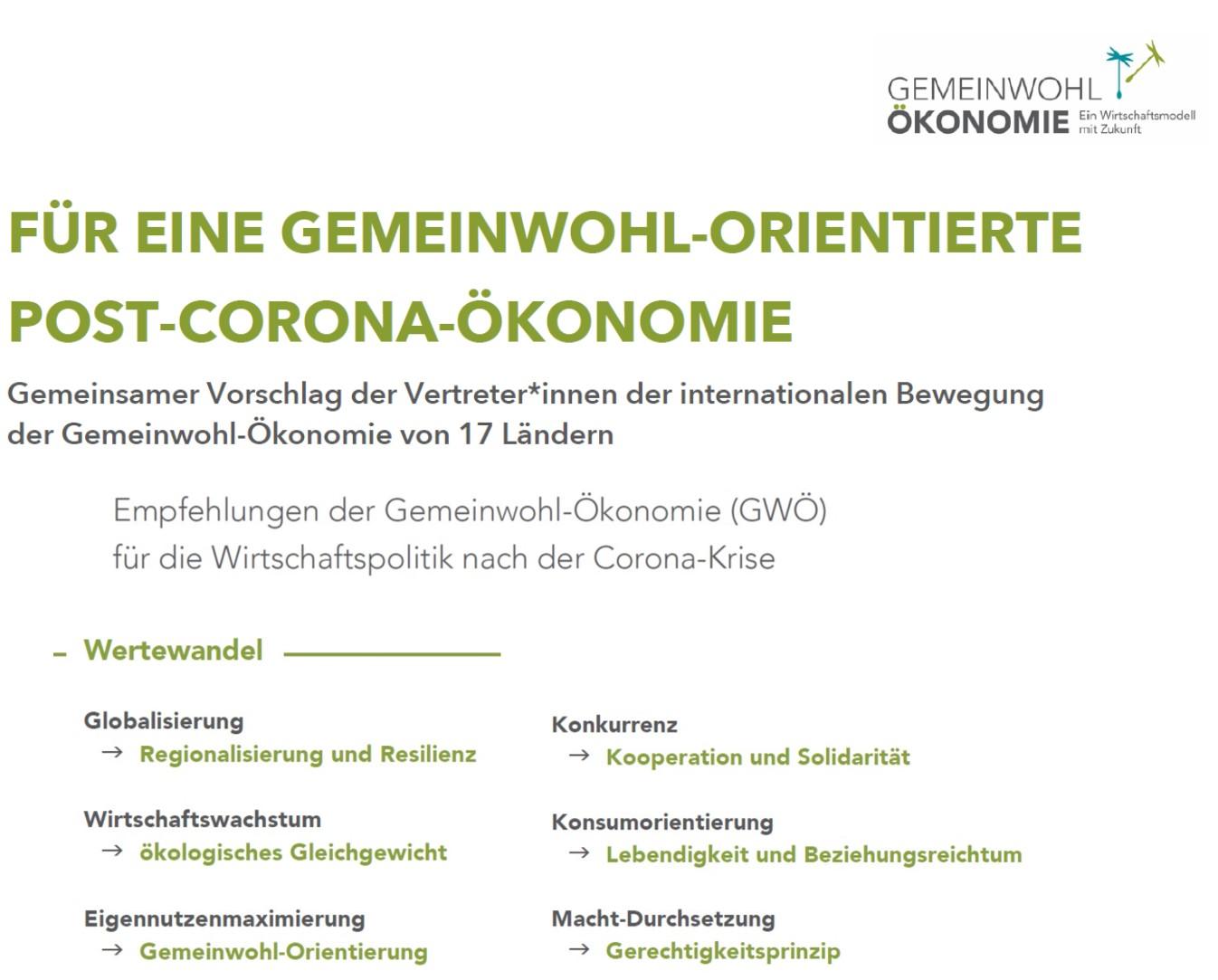 Für eine Gemeinwohl-orientierte Post-Corona-Ökonomie